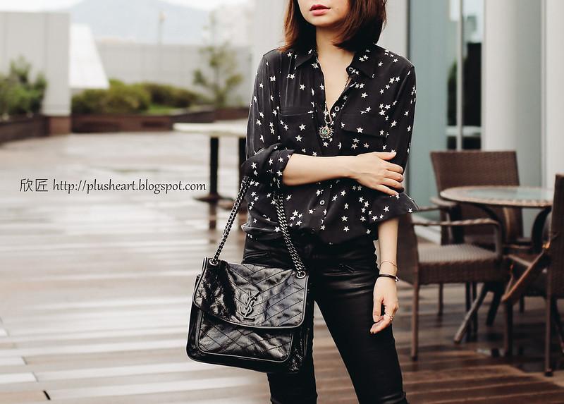 SAINT LAURENT Niki Chain leather shoulder bag,Niki 包深灰色鱷魚紋路,這個灰色很好看,也可以用碼LOVE折200。 0a80107c0b008