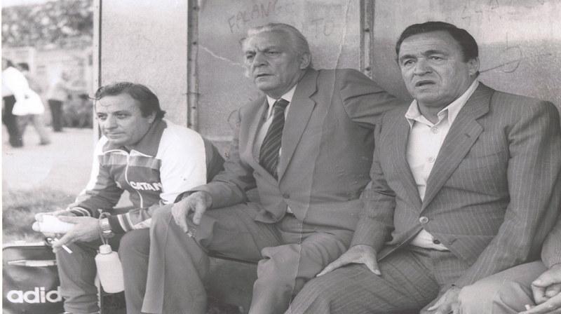 Da sx verso dx: il massaggiatore Maltese, il dirigente Mineo e mister Mazzetti