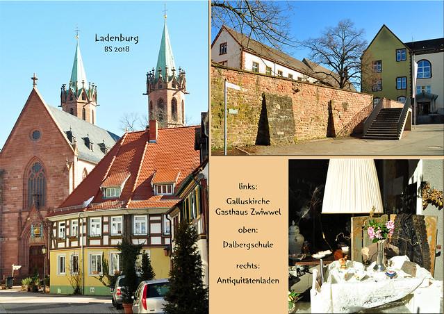 Ladenburg am Neckar ... März 2018 ... Foto: Brigitte Stolle ... Galluskirche, Gasthaus Zwiwwel, Dalbergschule