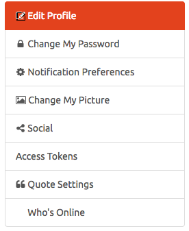 Click Edit profile and choose change password