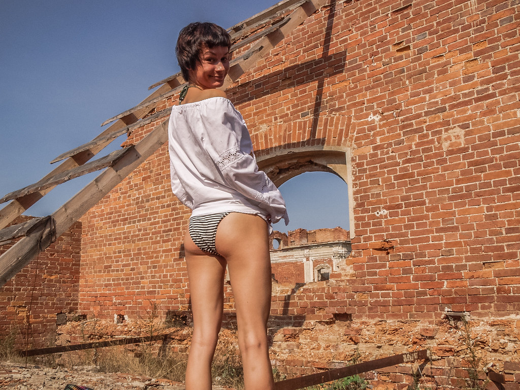 sexy girl in abandoned