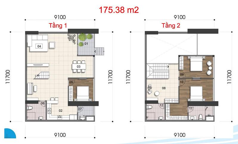 Gem Riverside thiết kế mẫu Duplex Villa - Penthouse 3
