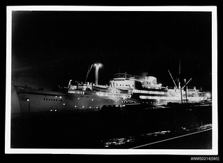 MV SKAUBRYN berthed at night, possible at Kiel, Germany | by Australian National Maritime Museum on The Commons