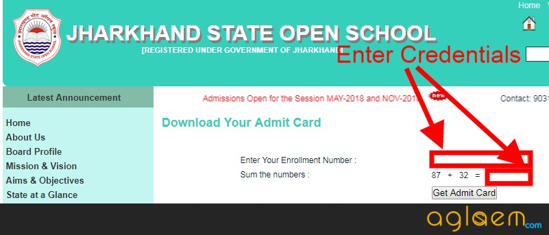 Jharkhand State Open School Admit Card May 2018