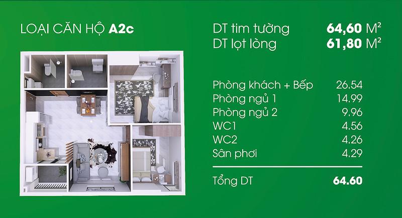 Căn hộ A2C: 2 phòng ngủ, 2 WC diện tích: 61,80 m2 Thủ Thiêm Garden quận 9