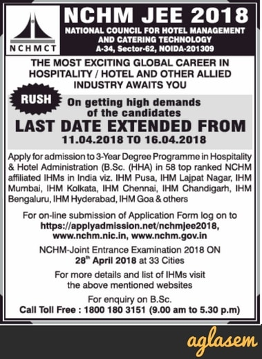 NCHMCT JEE 2018 Application Form / Registration: Last Date Extended