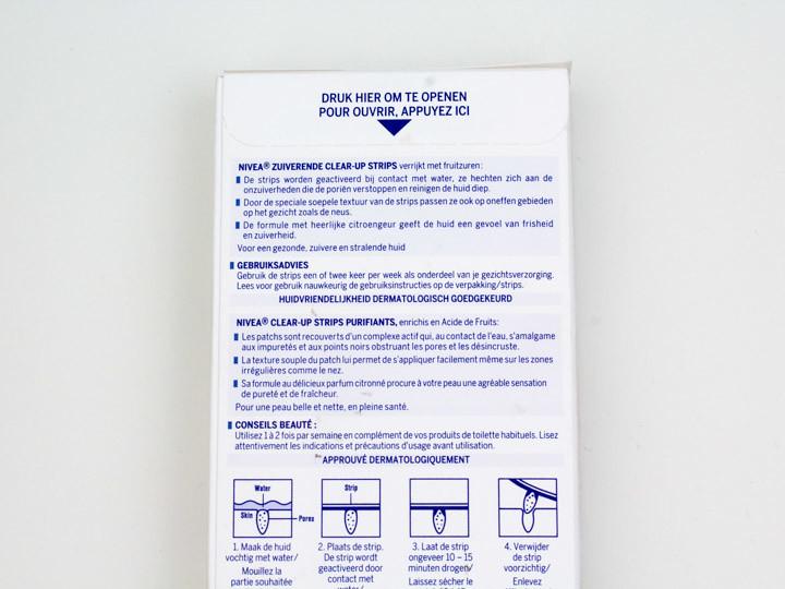 Nivea Zuiverende Clear-up Strips gebruiksaanwijzing