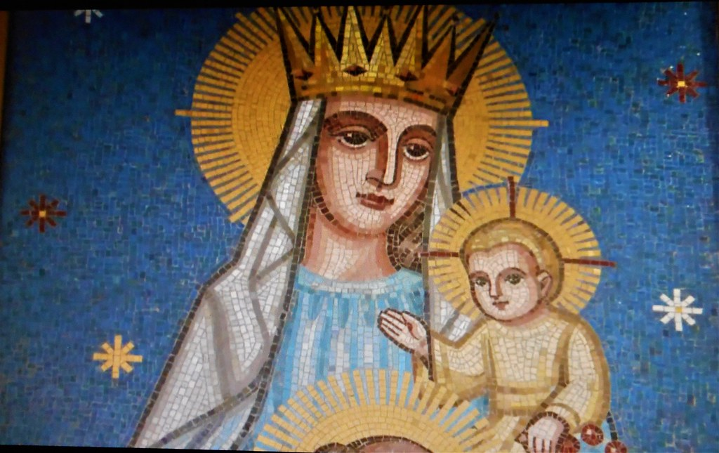 mosiac of mother mary and the baby jesus patricksmercy flickr
