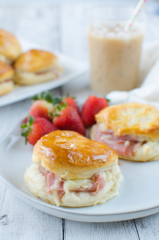Honey Ham Biscuits - a delicious way to use leftover ham! Only 4 ingredients and a total crowd pleaser.