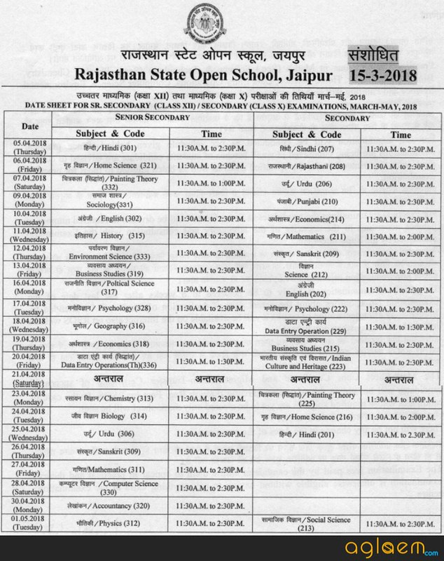 RSOS 10th Time Table 2018 (March - May)