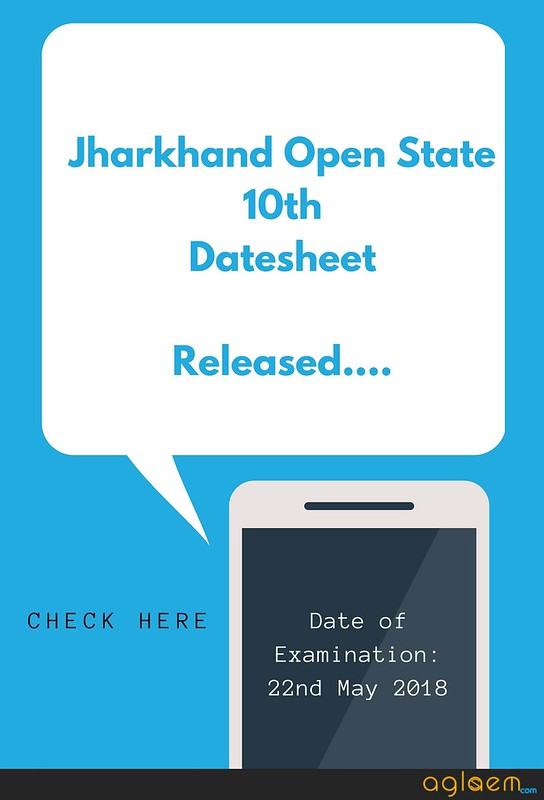 Jharkhand State open School 10th (Secondary) datesheet May 2018