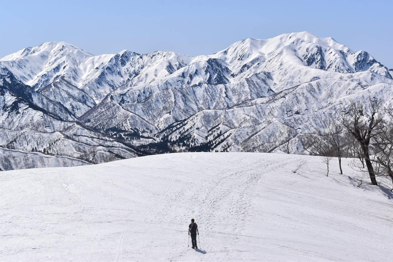残雪の日向倉山 広い雪の登山道