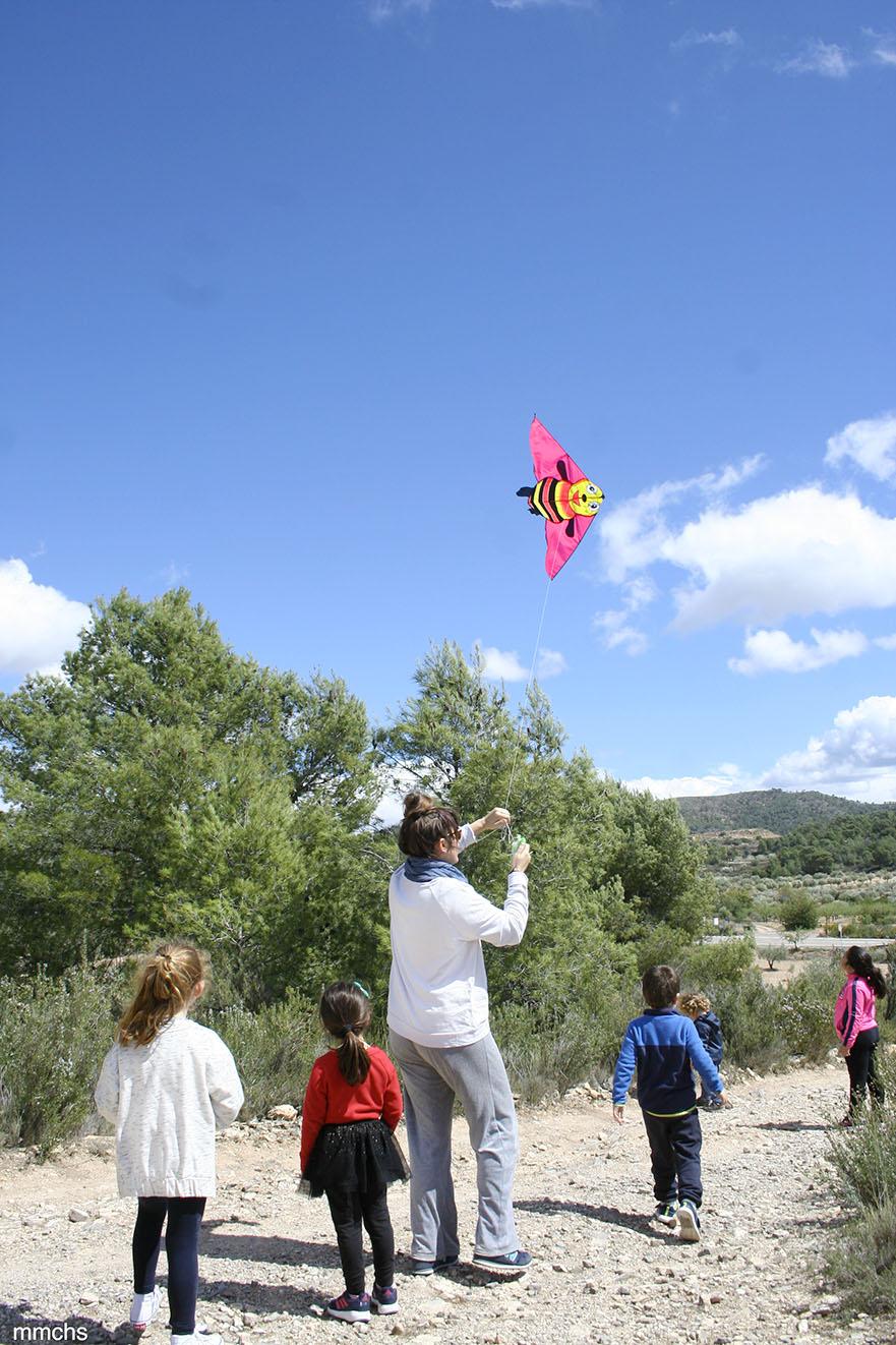 volando la cometa en el campo con amigos