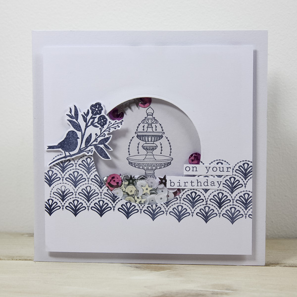 StickerKitten Bird Garden craft range - shaker card