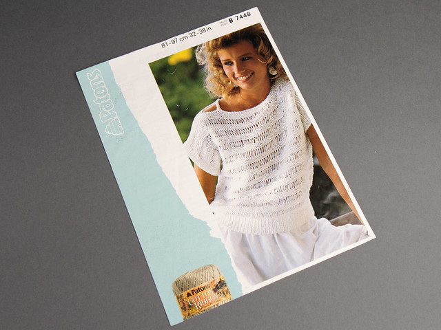 Patons 7448 Women's Summer Top/T-Shirt 80s Vintage Knitting Pattern Leaflet