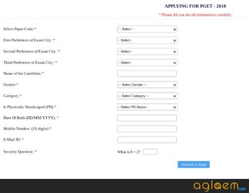 WBUT PGET 2019 Application Form