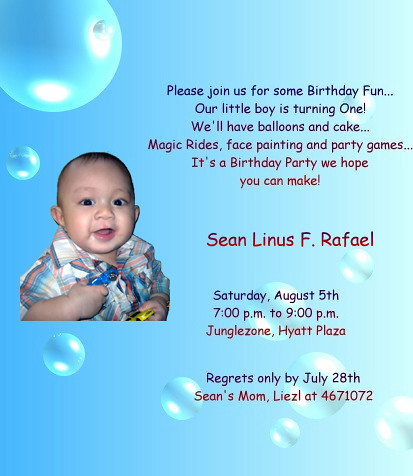 Seans St Birthday Invitation Card Liezl Rafael Flickr - 1st birthday invitation card format marathi