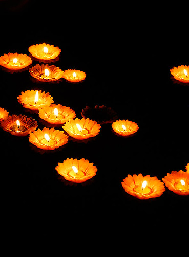 Floating Flower Candles Candles Floating On A Lake In