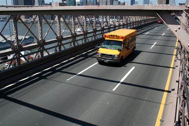 a school bus on brooklyn bridge