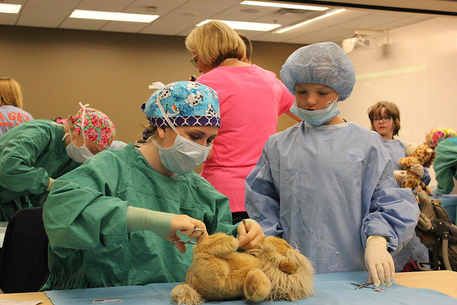 Teddy bear surgery at the Auburn University College of Veterinary Medicine's Open House.