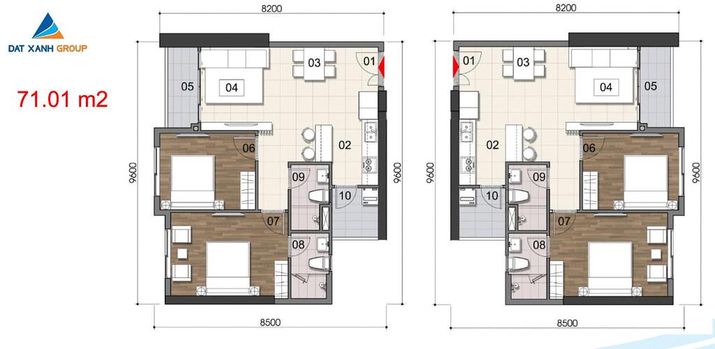 Thiết kế Mặt bằng tầng - căn hộ điển hình Gem Riverside 32