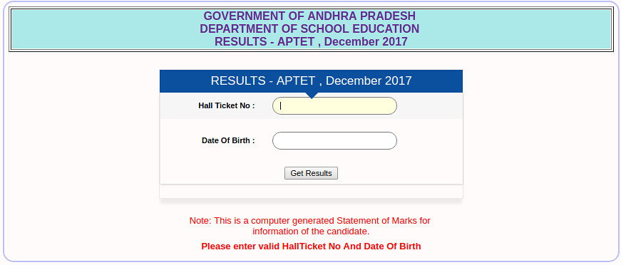APTET Result 2018 Announced   Check Here for Paper 1, and 2