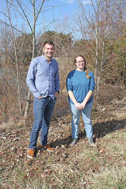 Jody Kenworth, Farm Programs Assistant, Maryland State Office, Farm Service Agency and Justin Fritscher, USDA National Office, on the bank of a tree-lined pond