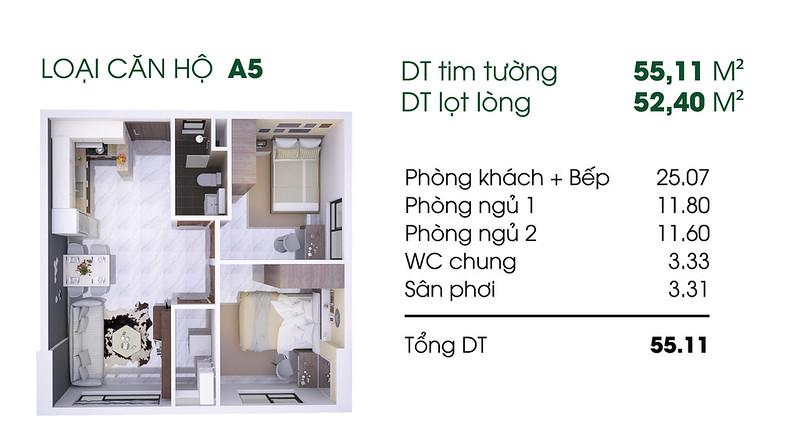 Căn hộ A5: 2 phòng ngủ, 1 WC diện tích: 52,40 m2 Thủ Thiêm Garden quận 9