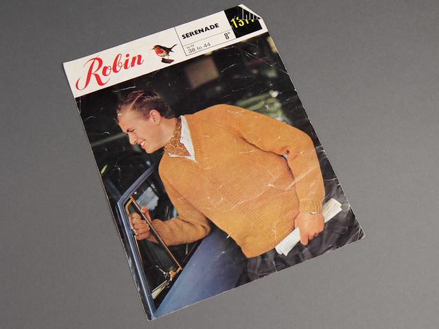 Robin 1317 Men's V-Neck Sweater 60s Vintage Pattern Leaflet