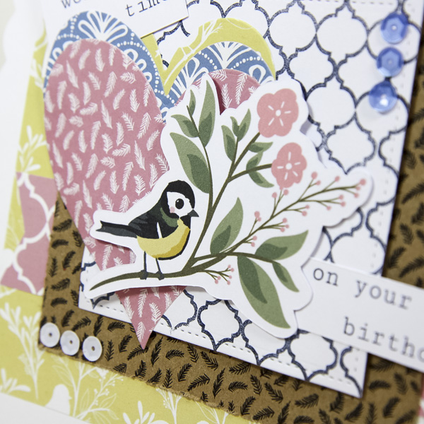 StickerKitten Bird Garden craft range - die cut ephemera hearts and bird card closeup