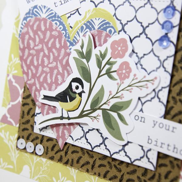 StickerKitten Bird Garden craft range - die cut ephemera hearts and bird card closeup