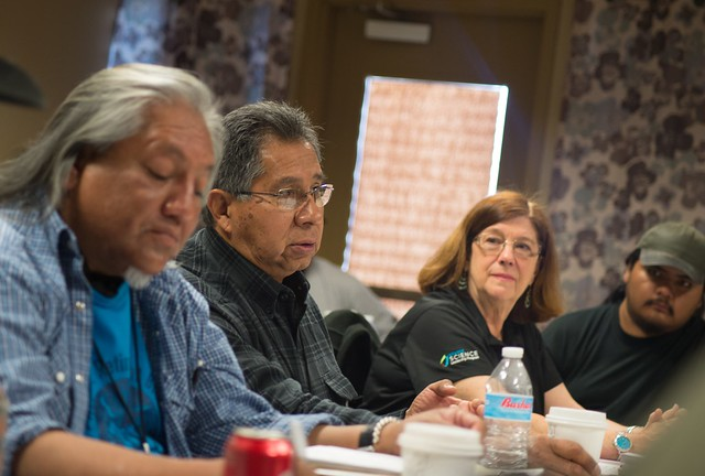 Native Americans representing 11 different tribes receiving training from Forest Service staff