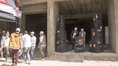 A local DJ outside a polling station in Egypt's Presidential elections | by Kodak Agfa