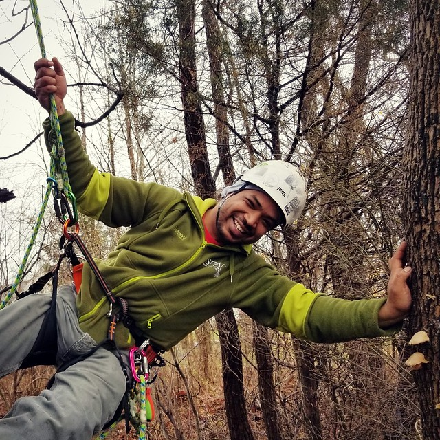 Marvin Enoe in the tree tops of Bethel, Ohio