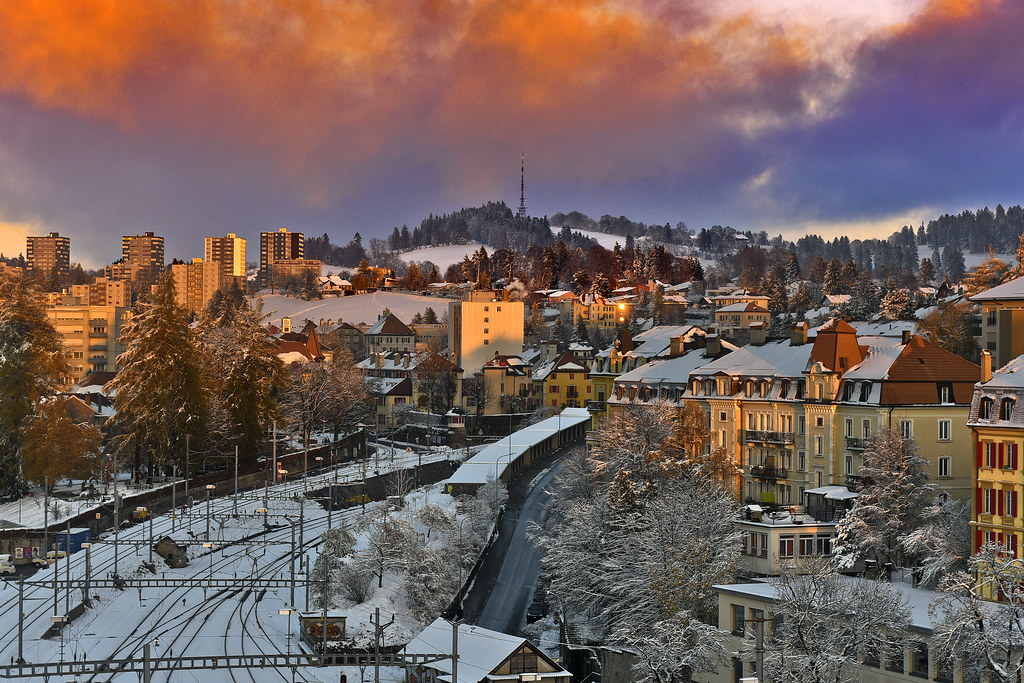 Snowy twilight time on La ChauxdeFonds Canton of Neuch Flickr