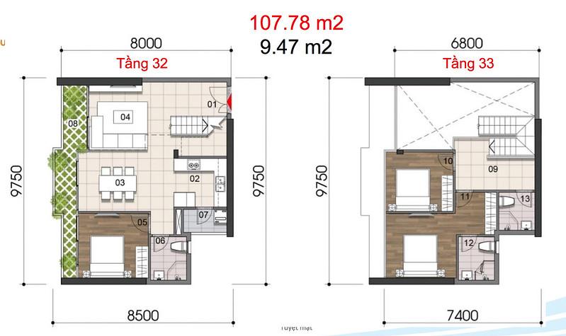 Gem Riverside thiết kế mẫu Duplex Villa - Penthouse 9