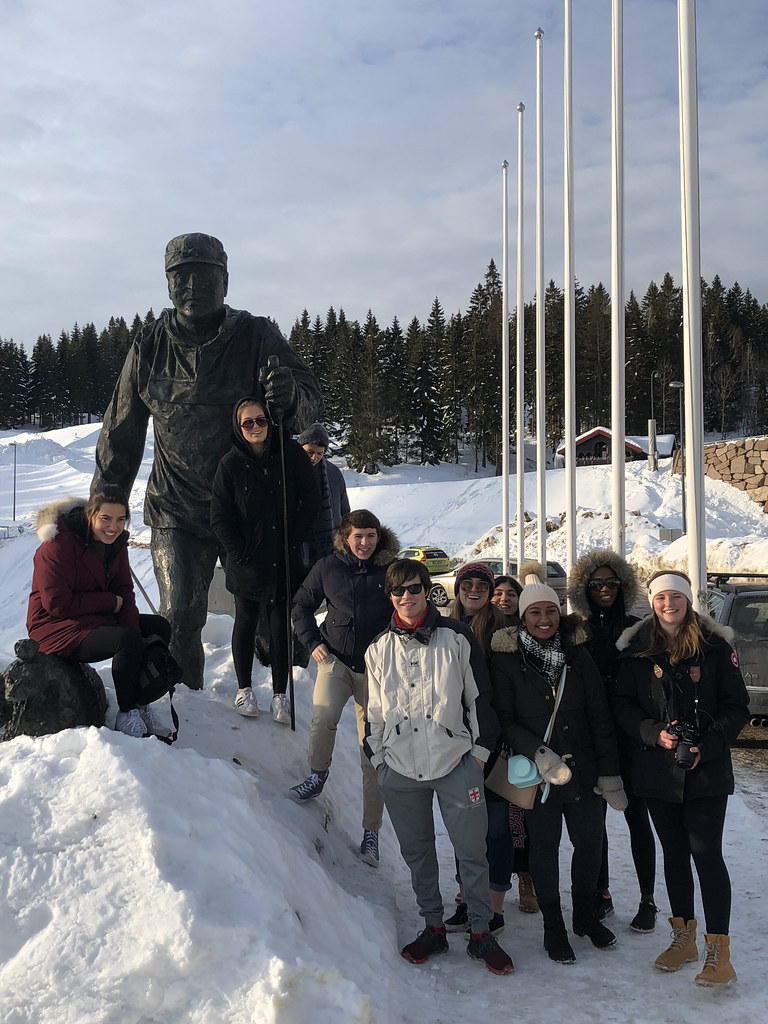 Students In Norway With A Bronze Sculpture Of KIng Olav V King 1957