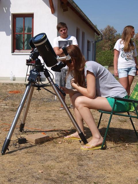 VCSE - Napészlelés a 2013. évi táborban, Borsos Gréta napmegfigyelése - Csizmadia Szilárd képe