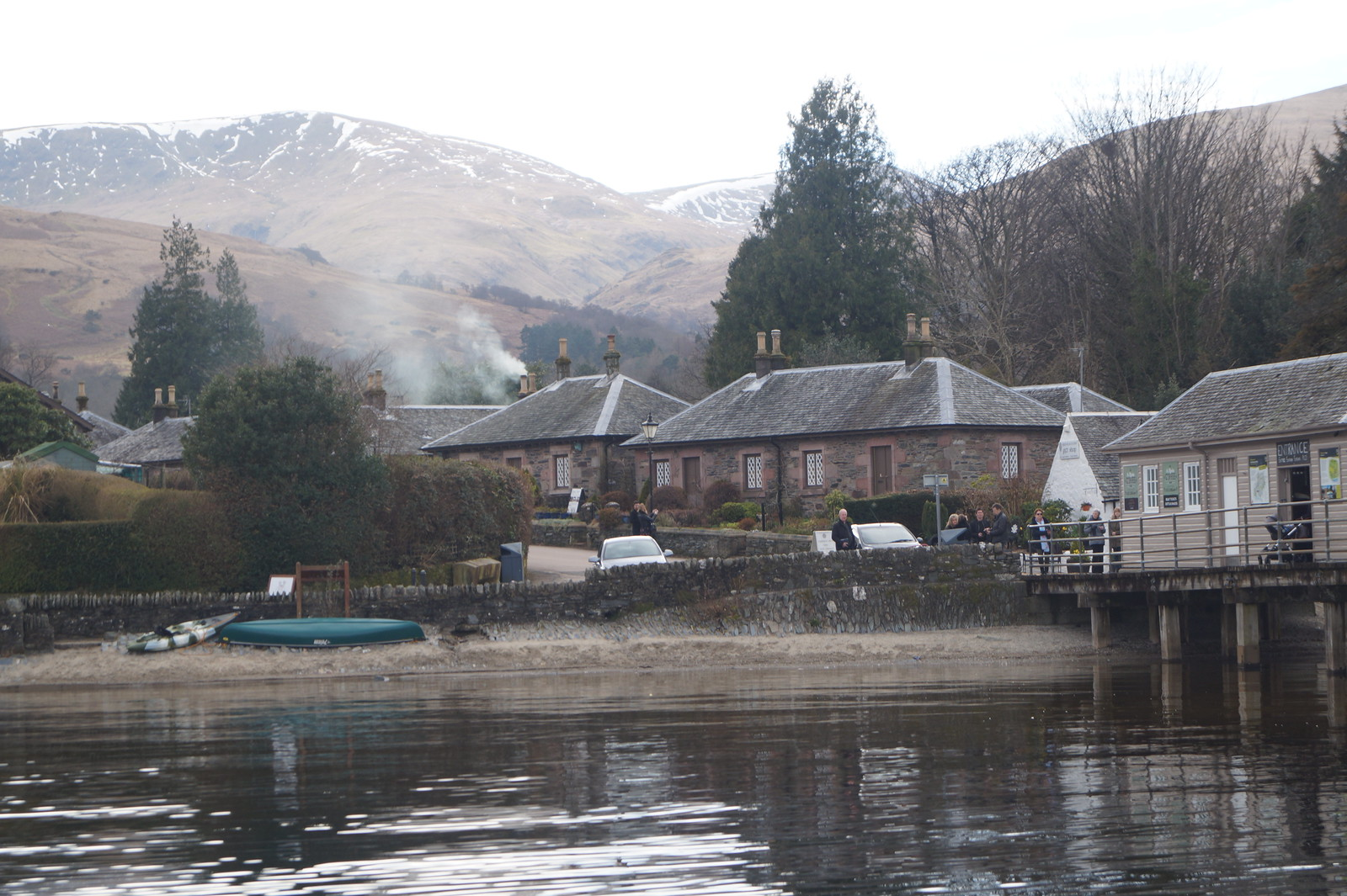 The boat dock and village of Luss, Scotland