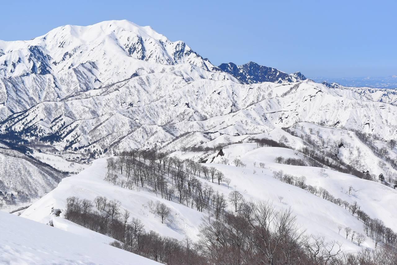 日向倉山から眺める越後駒ヶ岳と八海山