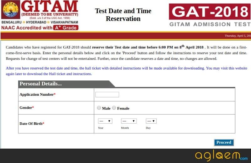 GITAM GAT 2018 Slot Booking (Started): Do GITAM 2018 Slot Booking Here