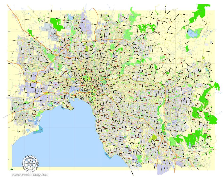 fully melbourne printable map australia exact vector street map v2711 fully