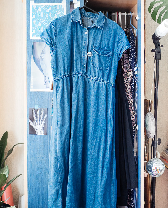 midi length denim dress