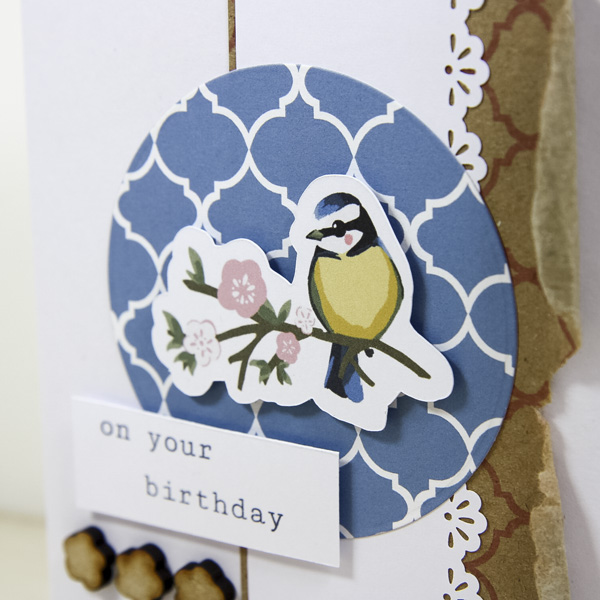 clean and simple Bird Garden card closeup