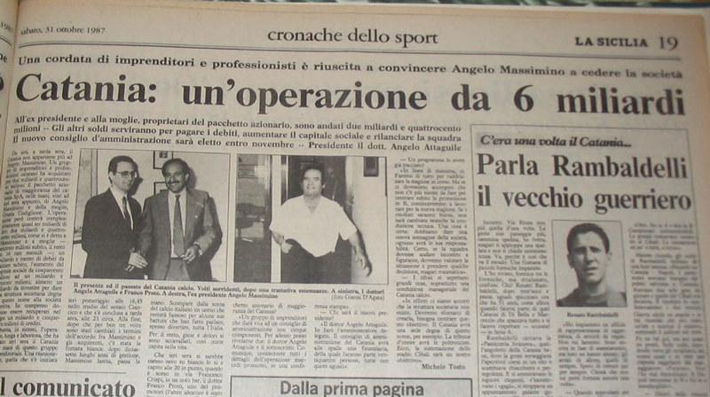 Ottobre 1987: la stampa locale sul passaggio di proprietà del Catania