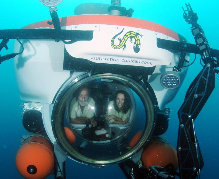鮑德溫(Carole Baldwin)博士藉由深潛器探索深海生態。圖片來源:Barry Baldwin