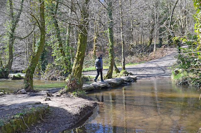 Crossing a stream, Camino de Santiago, Galicia