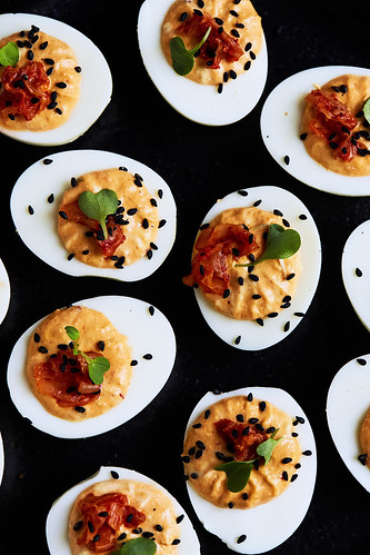 Probiotic Deviled Eggs // Eggs with Culture Two Ways: Sauerkraut and Kimchi | by Tasty Yummies