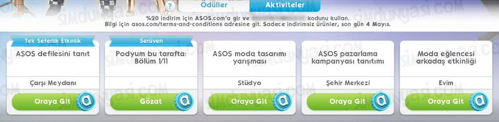 The Sims Mobile Asos Fashion Show Quest ASOS Defilesi Etkinliği
