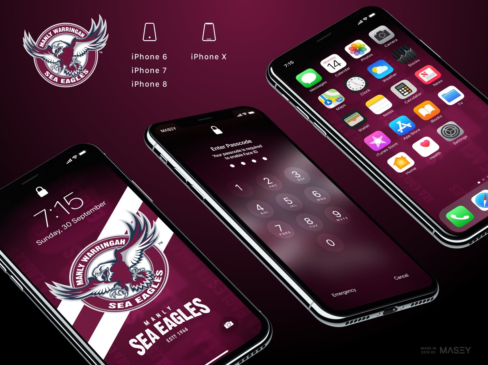 Manly Sea Eagles iPhone Wallpaper